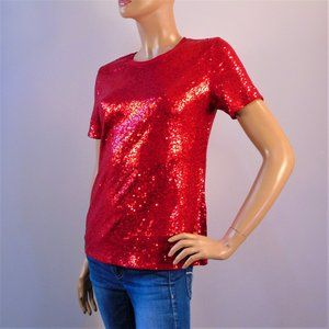 DKNY Red Sequined Cocktail Valentine Party T-Shirt
